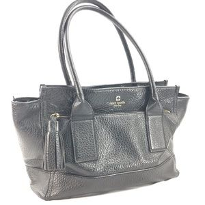Kate Spade Black Leather Satchel Handbag Tassel